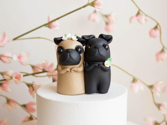 Pug Wedding Cake Topper Black Pug and Fawn Pug by ...