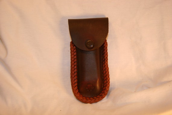 brown leather harmonica belt