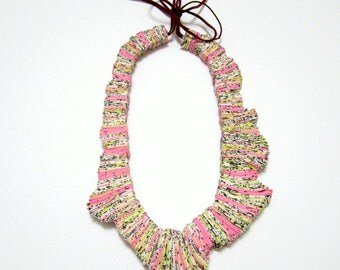 Urban Architecture-Textile Fabric Statement Handmade Necklace
