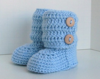 merino wool tall ugg style double button cuff baby booties for boys in blue with wood buttons boxed size 0 to 6 months warm and woolly