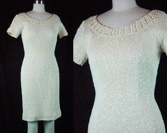 60s Handknit Cream Nubby Knit Dress Vintage 1960s Ivory Scoop Neck Body Hugging Hourglass Bombshell XS