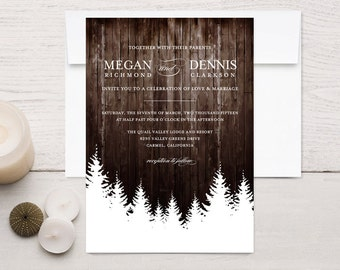 Winter Wedding Invitations, Rustic Wood