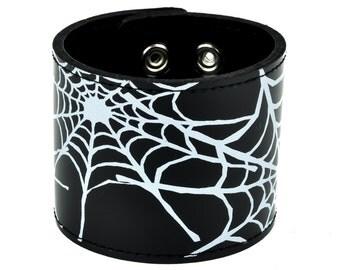"White Spider Web Print on Black Leather Wristband Cuff Bracelet 2-1/2"" Wide"