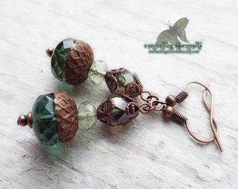Forest Whispers ~ Aged Copper Bohemian earrings with picasso czech glass