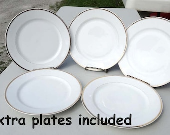 J & C Bavaria White Dinner Plates with Gold Band Leaf 8 Dinner Plates Serving Dinner Sets Serveware Tableware