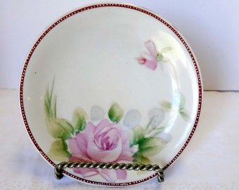 Hand Painted Nippon Dessert Plate Gold Leaf China White with Mauve Rim & Pink Roses Flowers Serving Plate Serveware Serving Plates Tableware