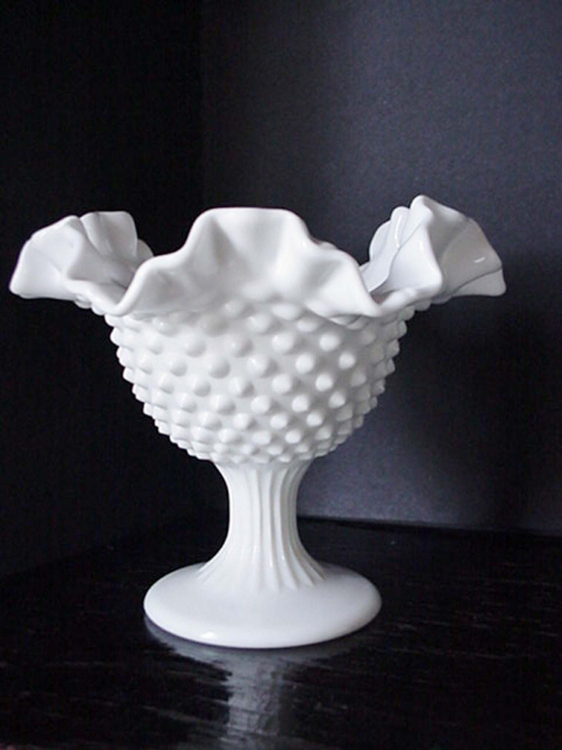 White Milk Glass Hobnail-Ruffled-Stemmed Candy Dish Milk Glass