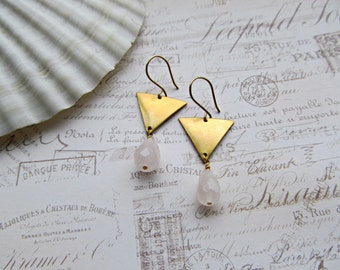 Brass Triangle earrings, Rose Quartz earrings, BoHo earrings