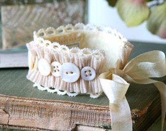 Button Cuff Bracelet, Shabby Chic Jewelry, Wrist Corsage, Prom Corsage, Vintage Button Bracelet, Bridesmaid Bracelet, Bridal Bracelet
