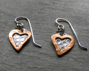 Sterling Silver and Copper Heart Earrings