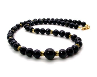 Cool Night Men's Beaded Necklace Featuring Blue Tiger's Eye – Men's Blue Tiger's Eye Necklace – Men's Blue Necklace