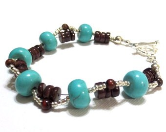 Woven Turquoise Bracelet, Turquoise Howlite, Brown Shell Heishi, Czech Glass Beads, Turquoise Gemstone Rondelles, Silver Toggle Clasp