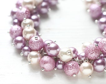 Lavender and Pink Wedding Bridesmaid Jewelry Pearl Cluster Bracelet - Sweetest Scent