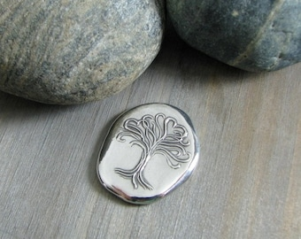Pure Silver Pocket Stone, Love Grows, Personalized, Artisan Original by SilverWishes, Tree Series