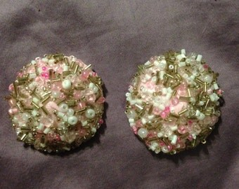 Heavily beaded pink glass pasties (I call them booby pastries!), size small