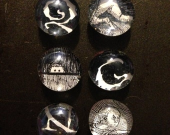 Six Edward Gorey mini magnets!