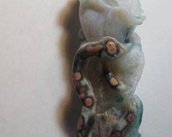 Premium*  Carved Ocean Jasper Snake,  Flower and Bird  .. with Druzy ... 54 x 21 x 18 mm.. B754