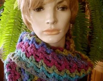 Womens Scarf very soft Cuddly OOAK Long Crocheted