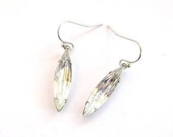 crystal clear navette glass drop earrings . rhinestone earrings . wedding jewelry