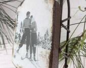 Love on the Ski Slopes - Rusty Tin Sled - Vintage Ski - Christmas Ornament - Vintage Sled - Sled Ornament - Winter Wedding - Gift Tag - Ski
