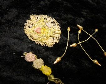 "x Antique Ribbon Work groupings including seed rosebuds,1.5"" ecru lace rosette applique, a 1.5"" pastel ribbon work swag 1920's (FF020715-4)"