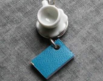 Book and Tea Cup Necklace, Blue Book Necklace, Miniature Book Necklace, Teacup Necklace, Coffee Cup Necklace , Miniature Teacup Necklace