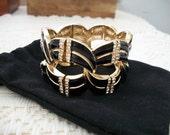 SALE Black Enamel and Crystal Goldtone Stretch Bracelet