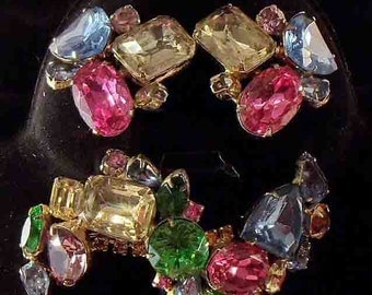 Vintage 1940s Juliana Fruit Salad Large Brooch and Matching Earrings