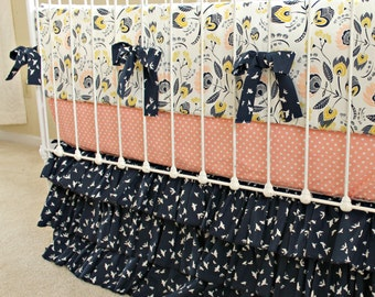 Custom Baby Bedding Crib Set, Navy and Peach Baby Girl Bedding Set for a Custom Nursery - Blooms in Flight