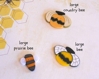 BUTTONS. LARGE Clay Bee Buttons. Perfect for Decorating Pincushions.