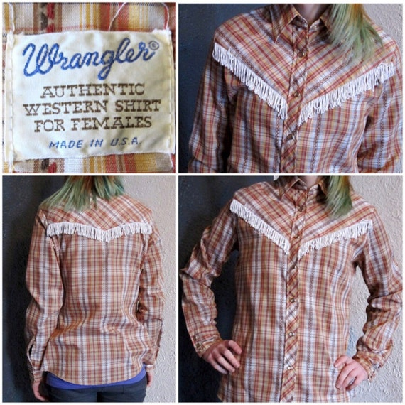 1970s Wrangler Annie Oakley Western Cowboy Shirt Plaid Fringe Button Down Rodeo Long Sleeve Cowgirl S/M Halloween