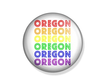 Oregon Rainbow Typography - Pinback Button, Magnet, Mirror, or Bottle Opener