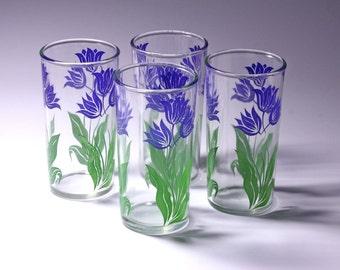 Vintage Anchor Hocking Swanky Blue Tulip Glasses - Set of 4