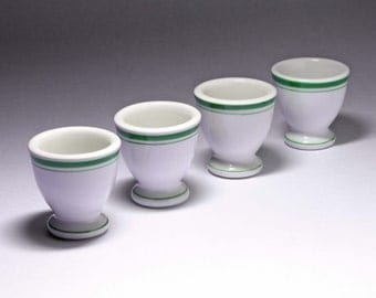 Vintage White Egg Cups with Green Border - Set of 4 - circa 1950's