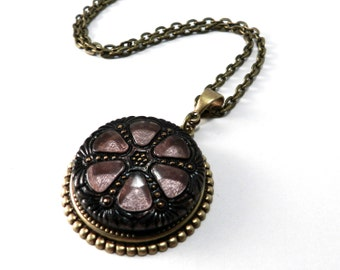 Dusty Rose Mandala - Brass Deco Glass ANTIQUE BUTTON Necklace - Victorian Bohemian Steampunk Jewelry by Compass Rose Design