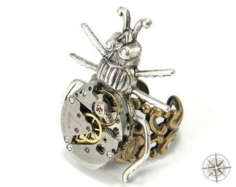 Steampunk Ring Silver on Brass Clockwork Insect Watch Movement Ring by Compass Rose Design
