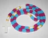 The Original Catholic Lego Rosary Made With Pink and Blue Bricks