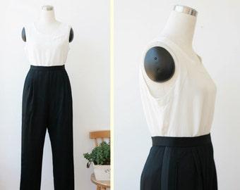 on SALE. Saks Fifth Avenue Black Pants Large, Black Designer Pants, Black Dressy Pants with Satin side panel