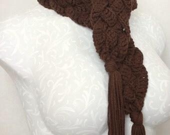 Five-Braid Crochet Scarf--Yummy Milk Chocolate--Tassel Scarf