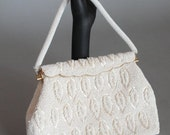 Reserved for Lisa 30% OFF SALE Vintage 1960s WHITE  Beaded Pocket Purse Wedding Accessories Evening Purse Formal Purse Made in Hong Kong