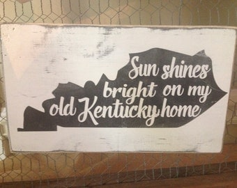 """State of Kentucky hand painted and distressed wood sign approx 13"""" x 8"""""""