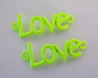 2PCS - Jewelry Connectors - Neon Yellow - Love Connector - 40x16mm - A107