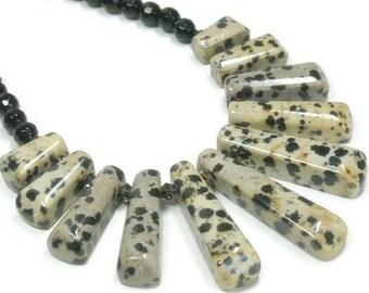 Dalmation Jasper Bib Necklace - Collar Necklace - Black Onyx - Gemstones Jewelry - Statement Jewelry - Tribal - Polka Dot - Graduated Focal