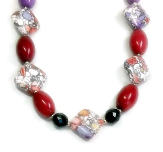 Chunky Abstract Necklace, Mosaic Magnesite, Black Onyx, Violet, Crimson, Berry, Spring, Summer, Fun Jewelry, Gemstone Necklace