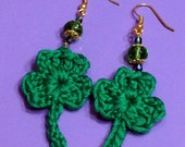 Shamrock Drop Earrings, St. Patrick's Day Jewelry, Green Crochet Cotton Shamrocks with Beads on Gold Tone Ear Wires, Luck of the Irish