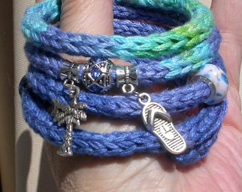 Knit Wrap Bangle Bracelet, Beach Inspired in Blue Variegated Bamboo Yarn with Memory Wire, European Style Beads, Flip Flop, Palm Tree Charms