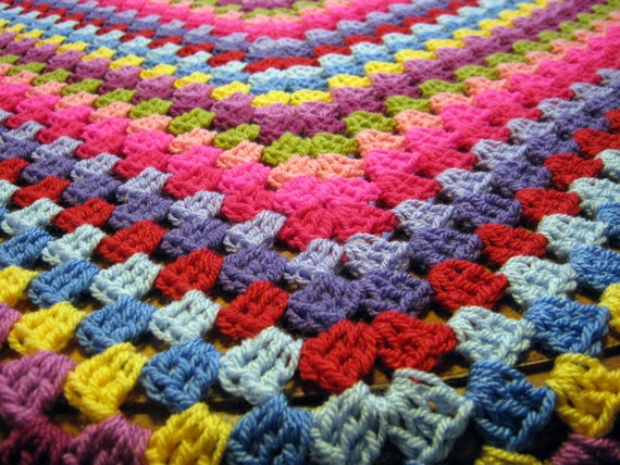 SALE 20% OFF Granny Square Crochet Blanket Pinks Purples In Stock Ready to Dispatch
