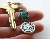 VACATION, Personalized Keychain, Initial Keychain, Lucky Turtle, Monogram Keychain, Wax Seal, Turquoise Jewelry, Gift for man