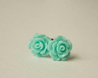 Handmade Earrings Aqua Rose Earrings Aqua Resin Flower Post Earrings Aqua Green Flower Earrings Aqua Bridesmaids Aqua Wedding Aqua Earrings