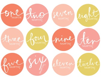 Baby Girl Instant Download | Hand-lettered | Baby Monthly Milestone Stickers | Baby Stickers | First Year Belly Sticker | Blush + Coral